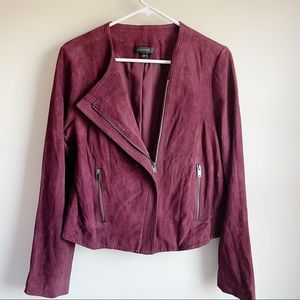 Ann Taylor Burgundy Genuine Leather Moto Jacket
